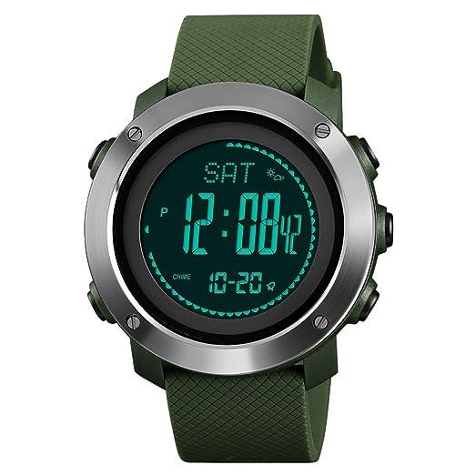 FeiWen Unisex Outdoor Militar Deportivo Digitales Brújula Relojes de Pulsera LED Electrónica Multifuncional Pulsómetro Altímetro Termómetro Alarma Reloj ...