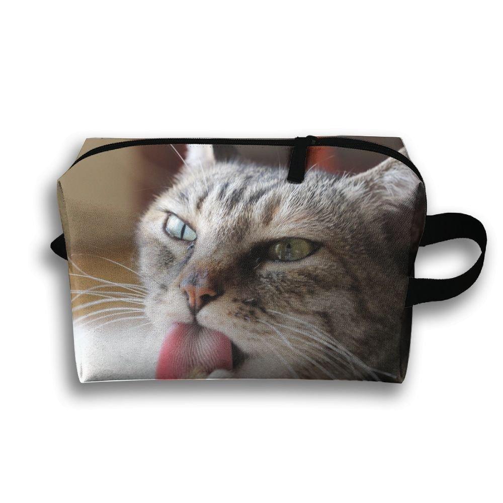 pengyong Tim Tongue Grey Tabby Cat Small Travel Toiletry Bagスーパーライトトイレタリーオーガナイザー一泊旅行用バッグ B07CCG1DKZ