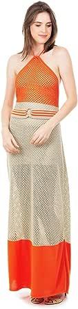 Vestido Longo Feminino Bella Store de Tricot Tricô Listrado Frente Única com Cinto