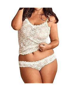 samLIKE ❤️ Femmes Lingerie de Grande Taille en Dentelle Corset Lace Underwire Racy Muslin Sleepwear sous-vêtements Tops + Slip/Bleu, Blanc/XL XXL XXXL XXXXL XXXXXL (XXL, Blanc)