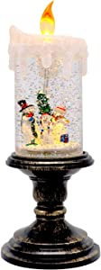 Wondise Christmas Flameless Candle Snow Globe Battery Operated, 10 Inches Swirling Water Glittering Lighted Snow Globe Candlestick Thanksgiving Christmas Decoration(Snowman Family)