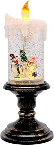 Wondise Christmas Flameless Candle Snow Globe Battery Operated, 10 Inches Swirling Water Glittering Lighted Snow Globe Candlestick Thanksgiving Christmas Decoration Snowman Family