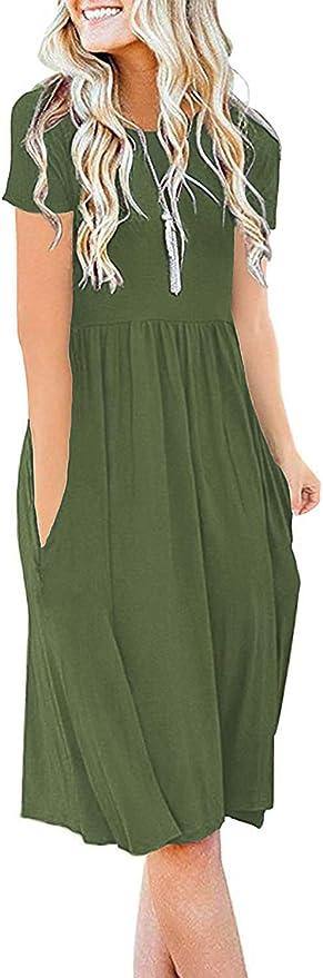 DB MOON Women Summer Casual Short Sleeve Dresses Empire Waist Dress with Pockets   Amazon