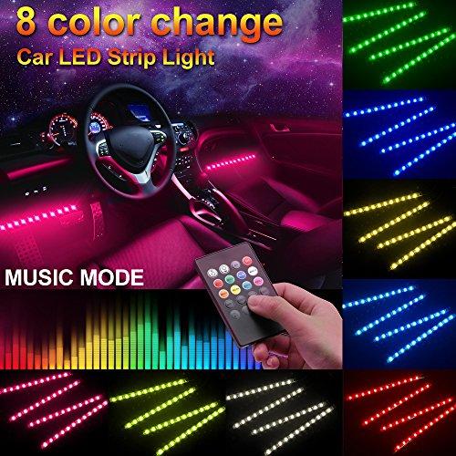 Minger Car LED Strip Light,4pcs DC 12V Multi-color Car Inter