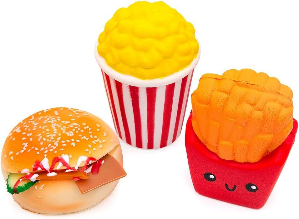MMTX 3 pi/èces Slow Rising Squishies Jouets,Super Doux Cut Squeeze Toys Kawaii Squishy Jumbo Soulagement de Stress D/écompression Cadeau pour Filles Gar/çons Hamburger,Popcorn,Chips