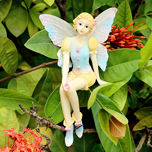 Garden Statue Fairy Figurine Nissa 6.1 Inch Tall, Hand Painted Resin Figurines Accessories for Outdoor or Garden Decor Gifts (Figurine Resin Sits)