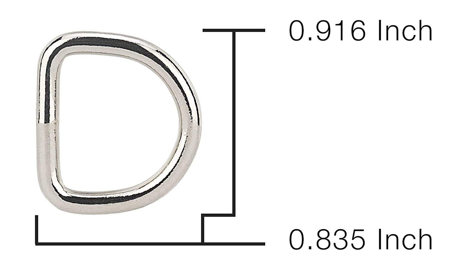 50 Pack Country Brook Design 5//8 Inch Welded D-Rings
