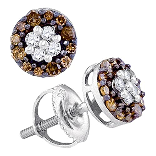10K White Gold Flower Shape Halo Studs Channel Set Chocolate Brown White Diamond Earrings 1 3 cttw.