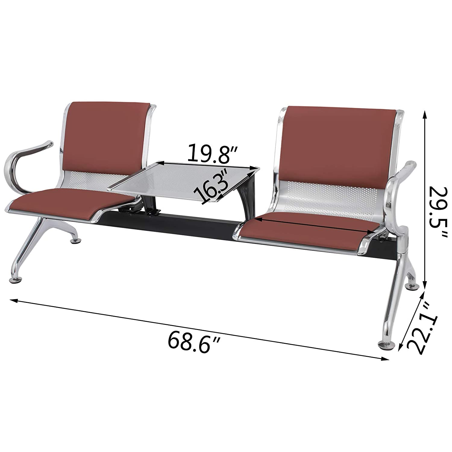 VEVOR Waiting Room Chairs with Table 2 Seat PU Leather Business Reception Bench Waiting Chairs for Office Barbershop Salon Airport Bank Hospital ...