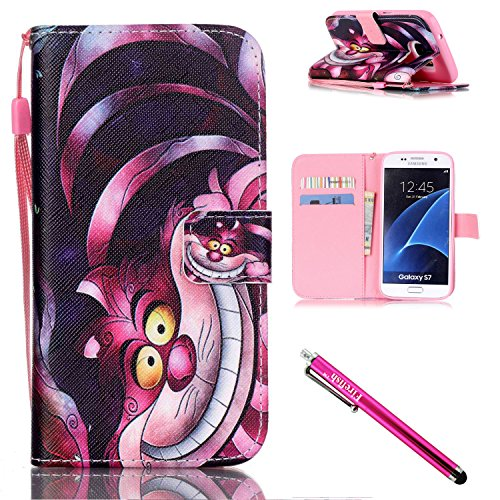 Shell Folio (Galaxy S7 Case, Firefish Stand Flip Folio Wallet Cover Shock Resistance Protective Shell with Cards Slots Magnetic Closure for Samsung Galaxy S7-Cat)