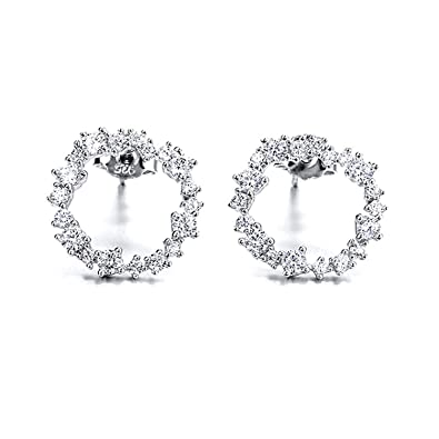 4abf21aaed3c9 Amazon.com: 925 Sterling Silver Stud Earrings for women Classic ...
