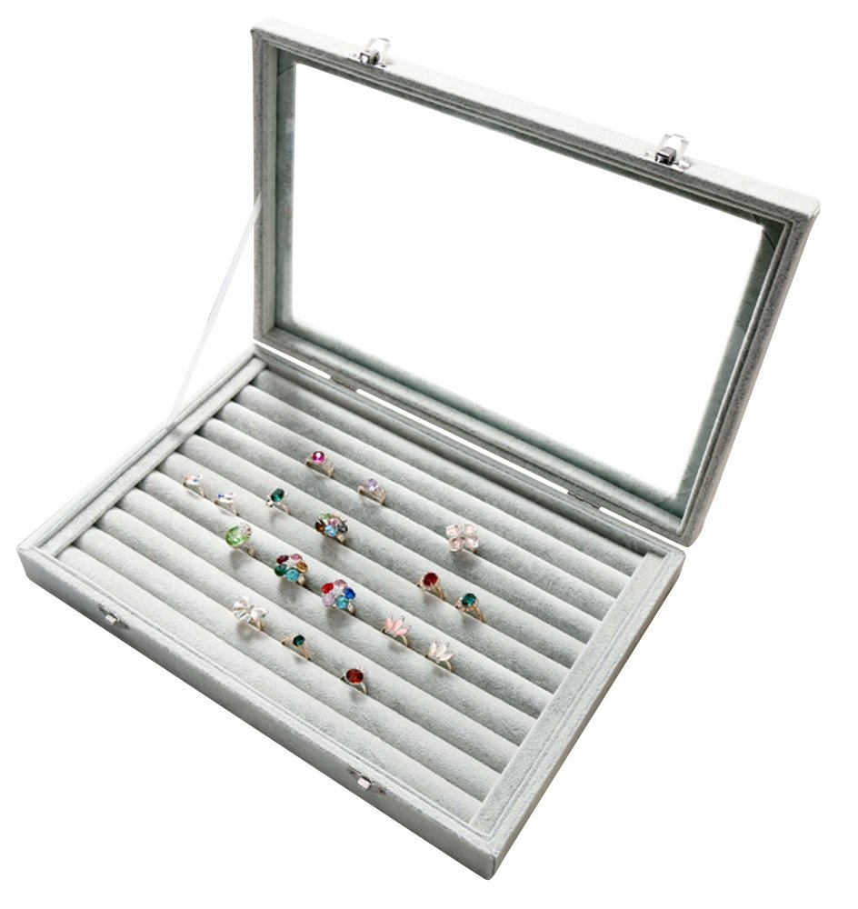 Wuligirl Ice Velvet 7 Slots Ring Earrings Box Jewelry Case Showcase Display Storage Rings Stackable with Glass Lid & Lock (Ring Box)
