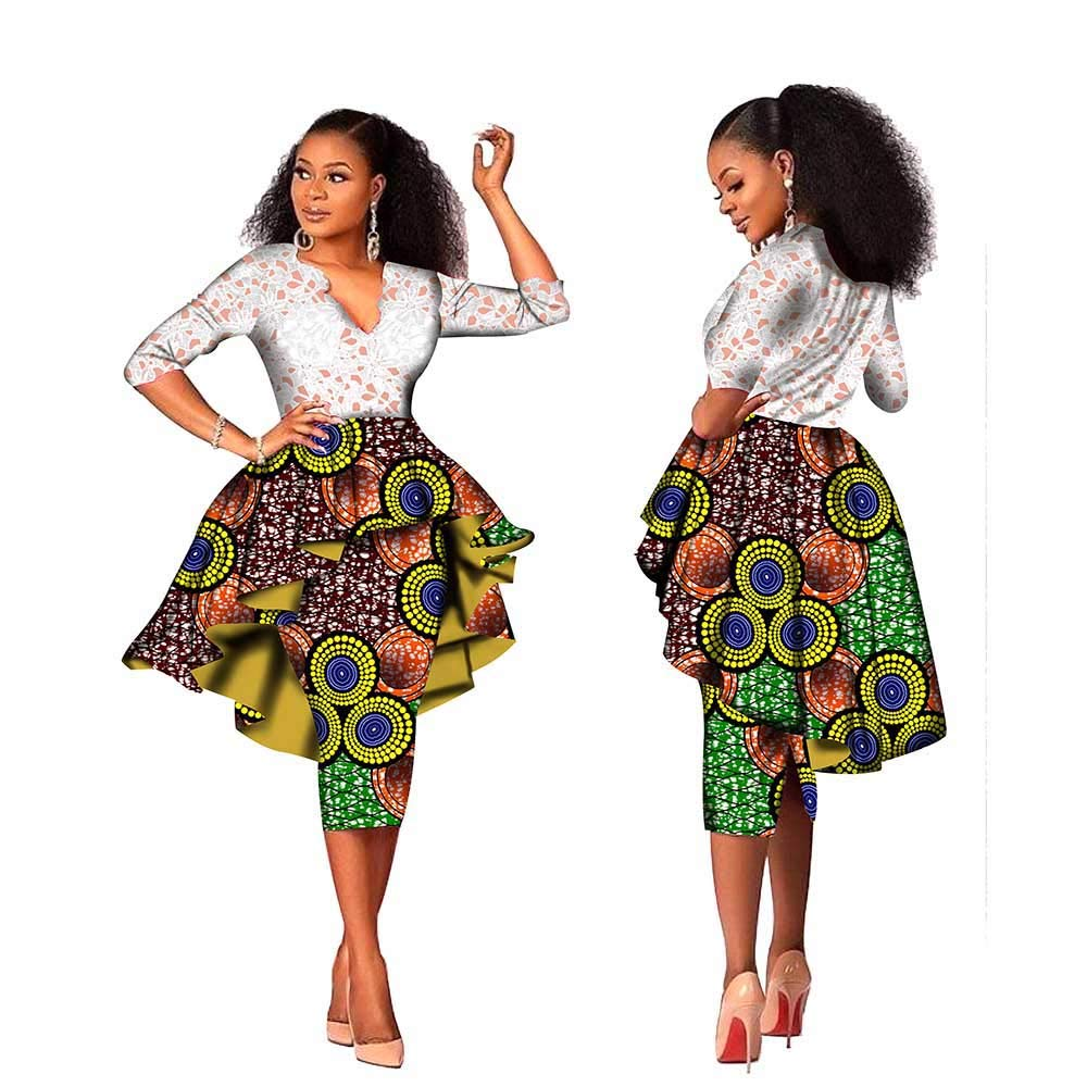 488 4 private afripride African Lace Dresses for Women Lace Tops+Dashiki Skirts 1Piece Ankara Fabric Print