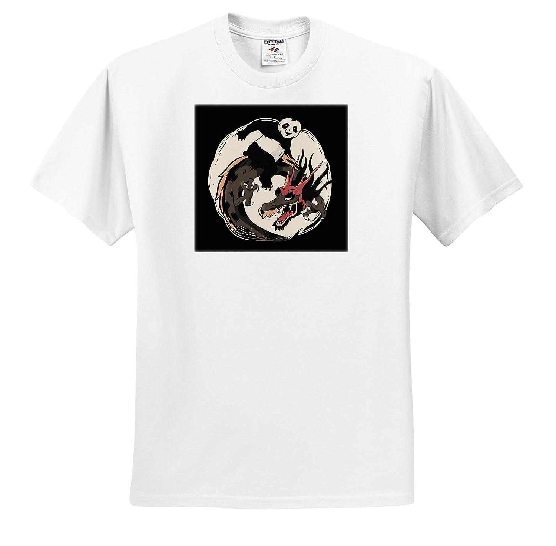 3dRose Sven Herkenrath Fantasy ts/_316111 Adult T-Shirt XL Fantasy Asia Animals with Dragons and Panda Bear
