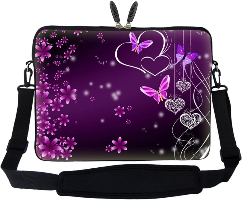 Meffort Inc 14 14.1 Inch Neoprene Laptop Sleeve Bag Carrying Case with Hidden Handle and Adjustable Shoulder Strap (Purple Flower Heart Butterfly)