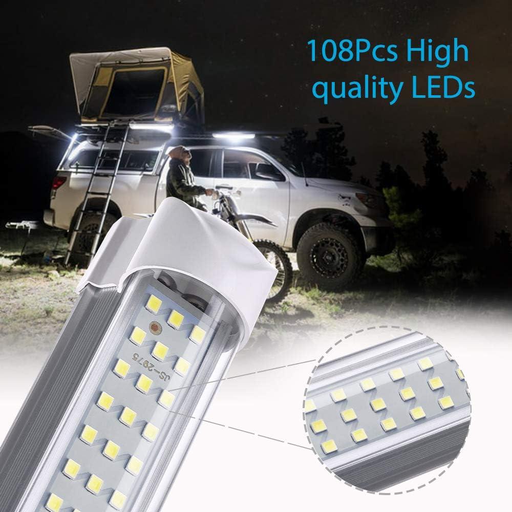 MICTUNING 2PCS 12V Tri-Row Interior Light Bar 6000K White 108 LEDs Universal Light Strip for Van RV Boat Trailer