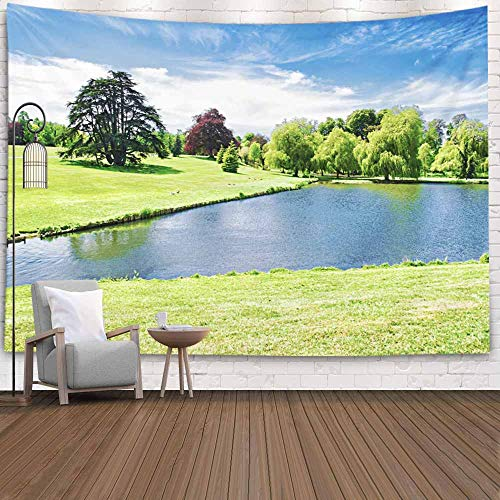 Shorping Christmas Tapestry, Home Christmas Theme Wall Hanging Tapestry Snow Tapestry 80X60Inches Pond Near Leeds Castle Tree Tapestry Xmas New Year Winter Indoors Decorations for Home Cute Tapestry (Leeds Castle Christmas Kent)