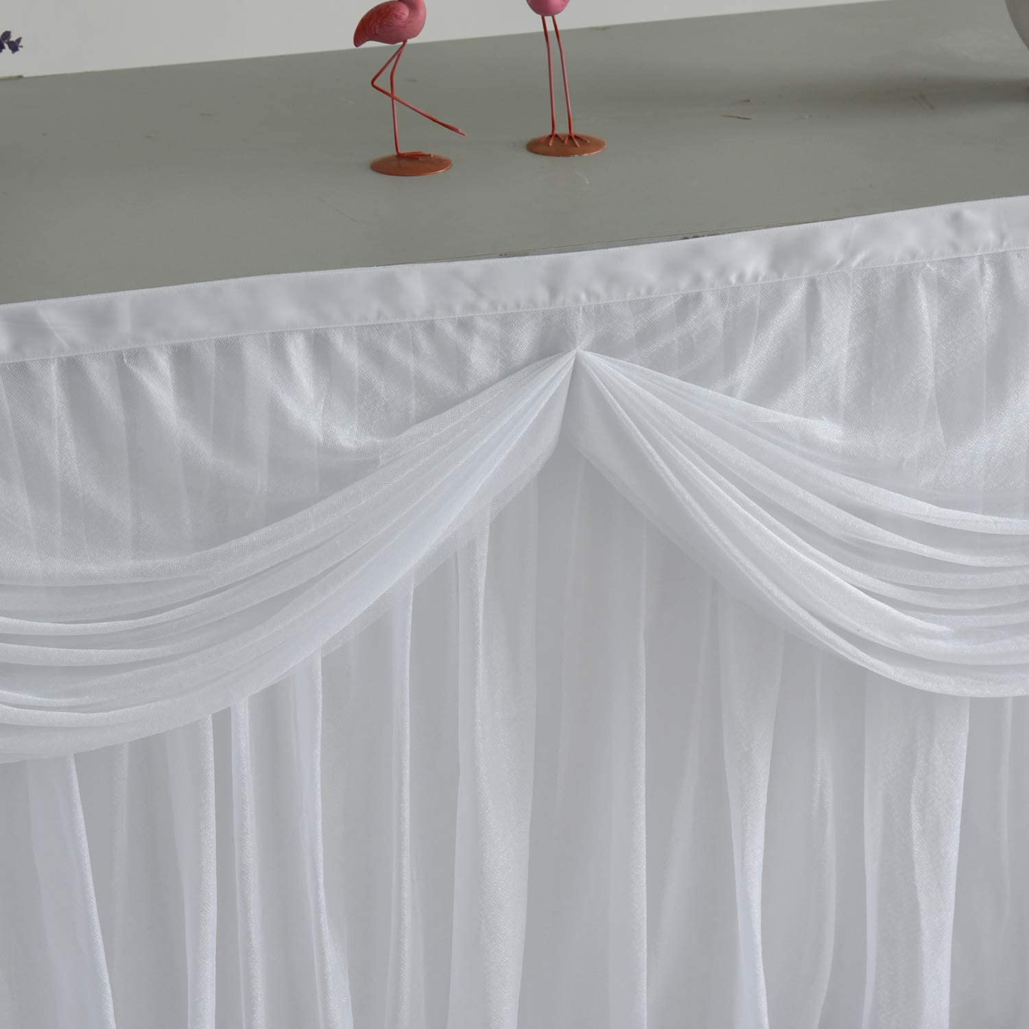 9FT White Tulle Table Skirt Tutu Table Skirting With Satin Double Drape for Rectangle Table or Round Table for Wedding,Birthday Party,Baby Shower L108inH30in