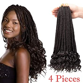 Box Braids Twist Wavy Ends Hair 4pieces and 24 Roots/pieces Crochet Braids  Box Braids