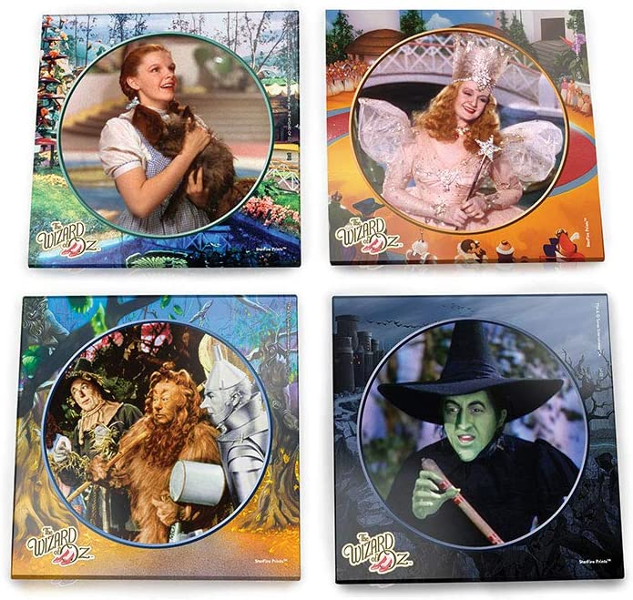 Wizard of Oz Glass Coaster Set – Dorothy Toto Tinman Scarecrow Lion Wicked Witch Glenda Good Witch – Comes With Stylish Holder