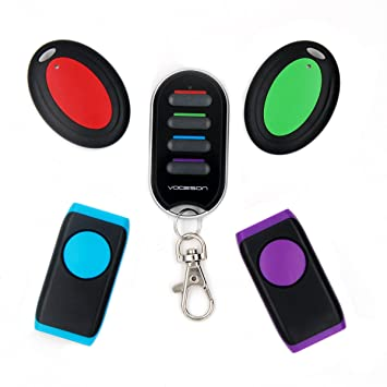 No APP Required,Battery Included Portable RF Key Finder 1 Transmitter Wireless Wallet Locator Set by Vodeson 4 Receivers Portable Style