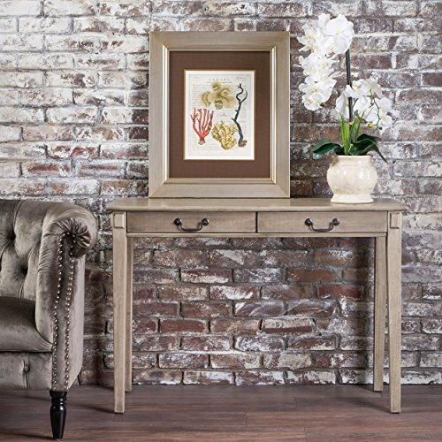 Christopher Knight Home Cerise Classic Metallic Grey Finish Acacia Wood Console Table, Gray