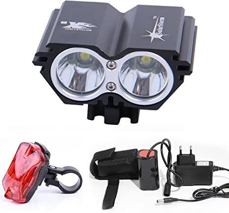 SolarStorm 5000LM 2x T6 LED Head Front Bicycle Light Bike Headlight Lamp 4x18650