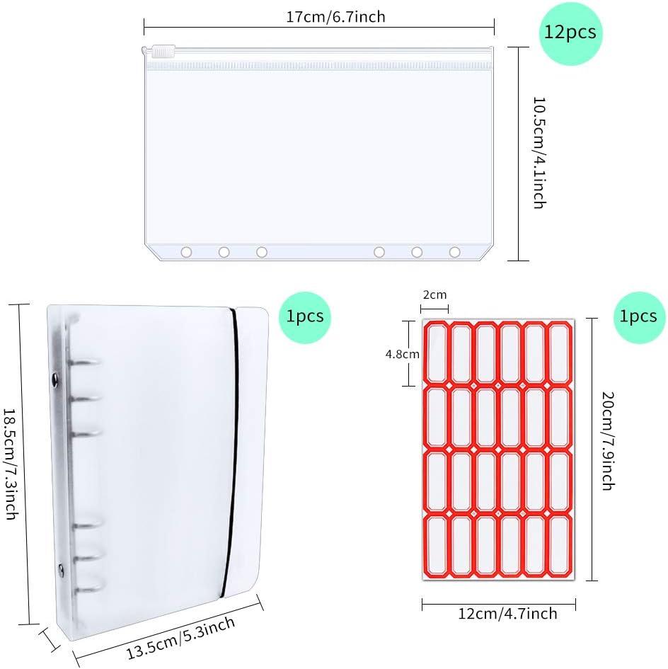 Amcer 12Pcs A6 Plastic Clear Binder Envelopes Loose Leaf Zipper Bags with Binder Pockets