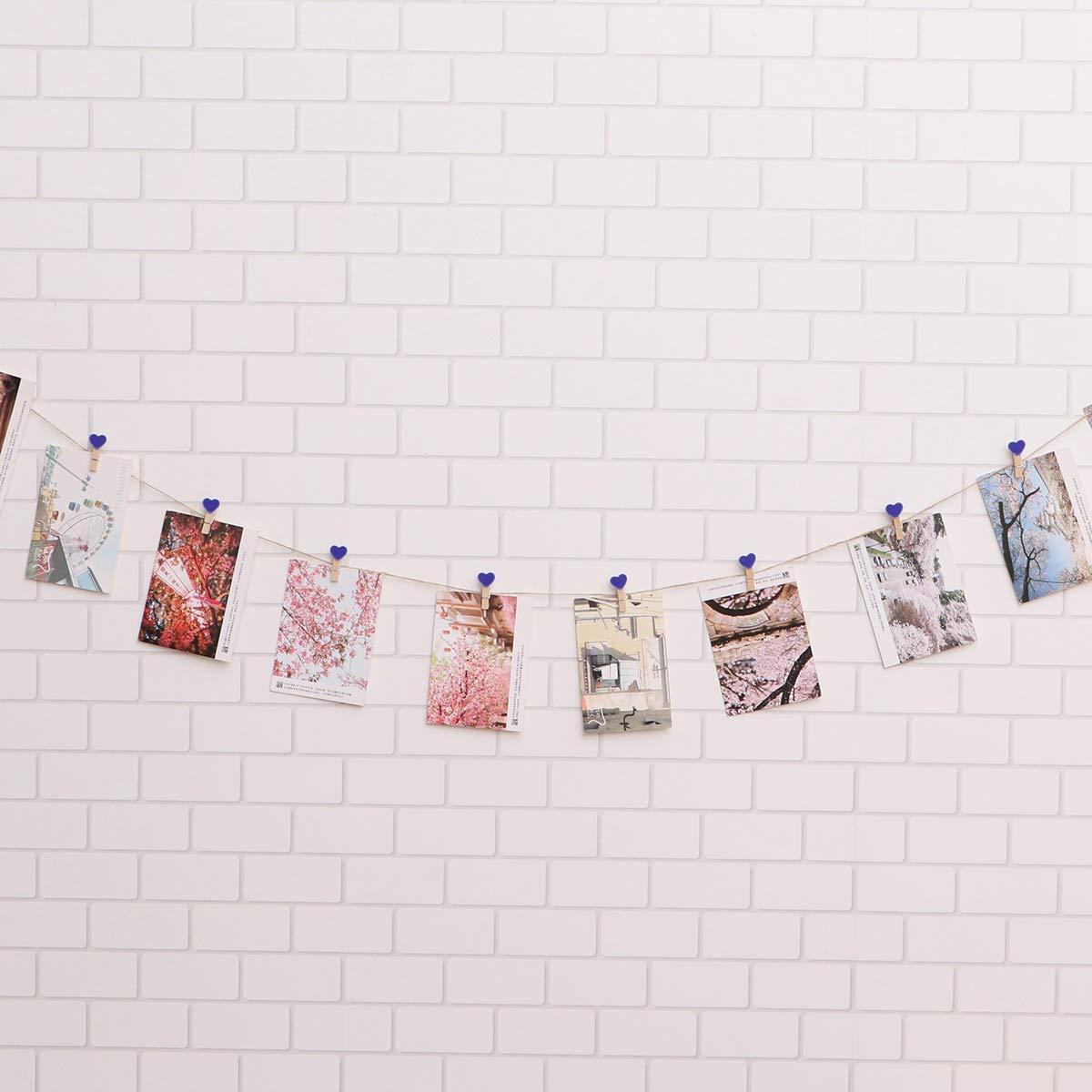 Amosfun Mollette in Legno 30 Pezzi a Forma di Cuori per Foto con Corda