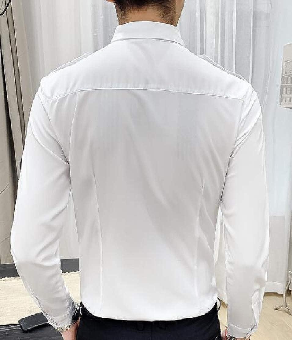 CYJ-shiba Men Long Sleeves Slim Fit Epaulette Clubwear Button Down Shirt