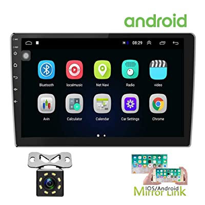 Hikity 10.1 Inch Android Car Stereo with GPS Double Din Car Radio Bluetooth FM Radio Receiver Support WiFi Connect Mirror Link for Android/iOS Phone + Dual USB Input & 12 LEDs Backup Camera: GPS & Navigation