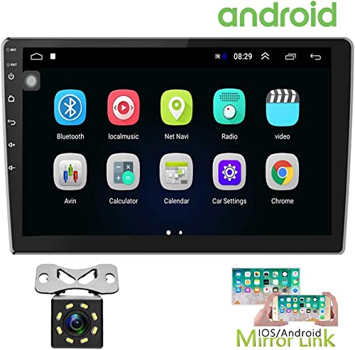 Hikity 10.1 Inch Android Car Stereo with GPS Double Din Car Radio Bluetooth FM Radio Receiver Support WiFi Connect Mirror Link for Android iOS Phone Dual USB Input 12 LEDs Backup Camera