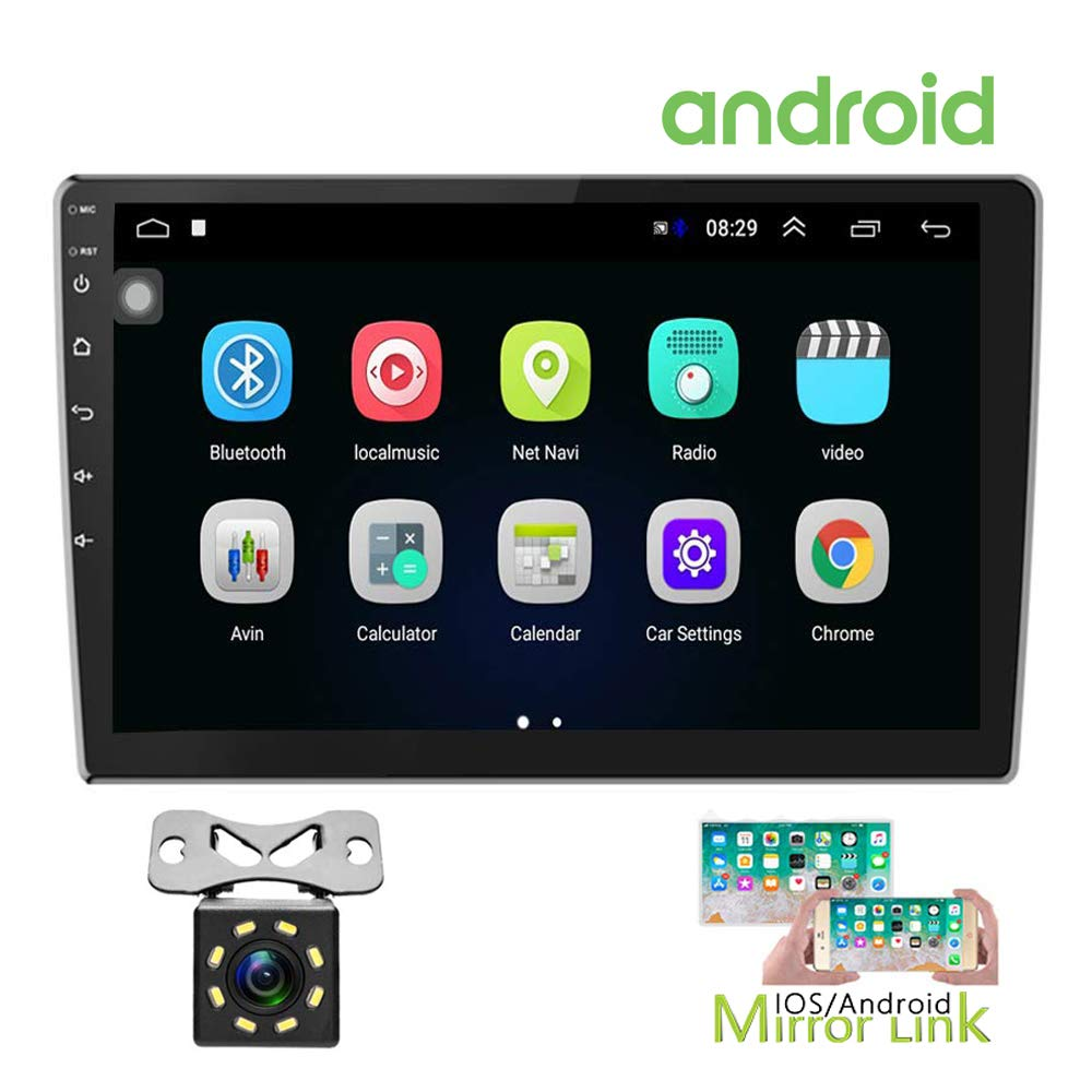 Hikity Double Din Android Car Stereo 10.1 Inch Touch Screen Radio Bluetooth WiFi GPS FM Radio Receiver Support Android/iOS Phone Mirror Link with Dual USB Input & 12 LEDs Backup Camera by Hikity