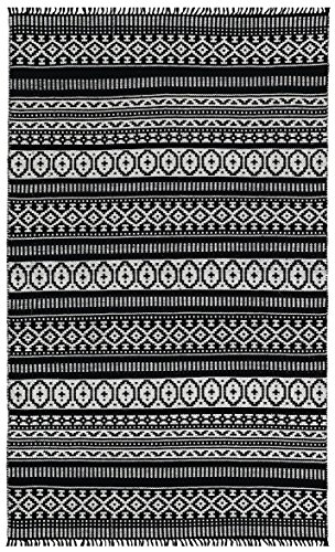 Complex Geo Cotton Rug, Black, 5-Feet by 8-Feet