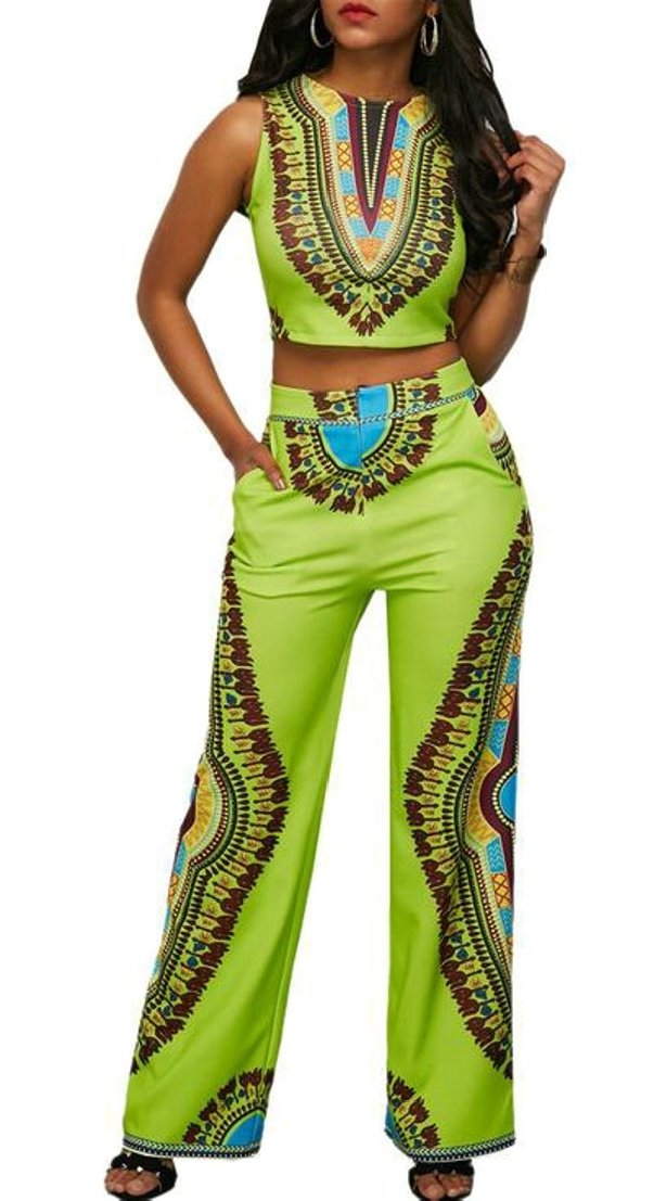 Generic Women's African Print Casual Wide Leg Pants 2 Piece Suit Set Outfits