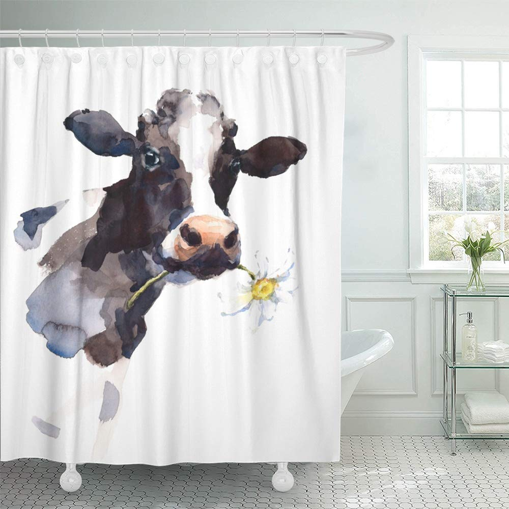 Emvency Shower Curtain Waterproof Adjustable Polyester Fabric Watercolor Cow with Daisy Flower in Its Mouth Farm Animal Portrait Hand 60 x 72 Inches Set with Hooks for Bathroom