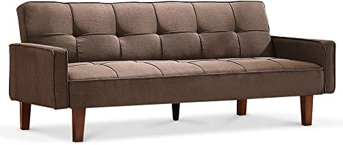 Recaceik Futon Sofa Bed Couch Modern Linen Fabric Tufted Convertible Sleeper Sofa,180 Degree Expandable, Memory Foam Cushion for Living Room Brown