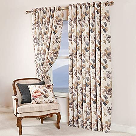 Scatter Box Orchid Rose Faux Linen Melange Lined Eyelet Curtains Slate 105 X 90