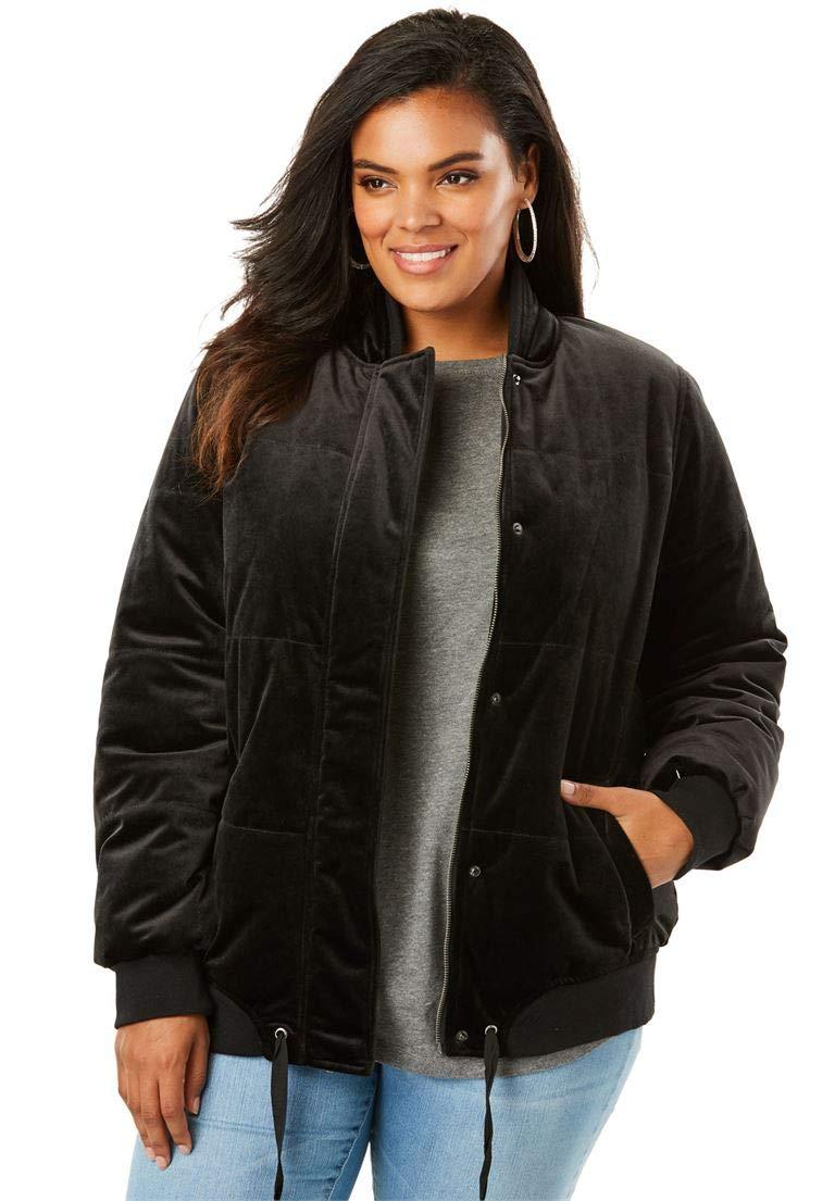 Roamans Women's Plus Size Velvet Bomber Puffer Jacket