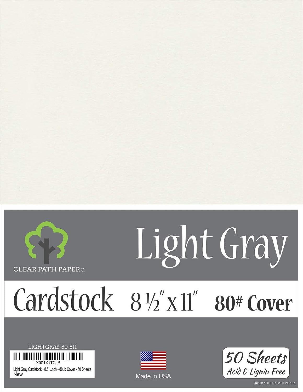 ライトグレーカードストック - 8.5 x 11インチ - 80ポンドカバー - 50枚 8.5 x 11 Inch - 50 Sheets グレイ LIGHTGRAY-80-811 B07JVPHW88  8.5 x 11 Inch - 50 Sheets