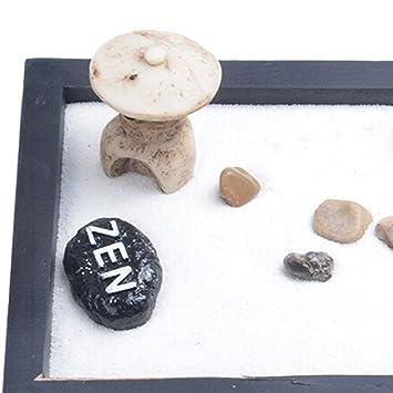 MagiDeal Deko Zen Garten Sand Set , Mini Turm Stein Kiesel Rake , Haus  Tisch Dekoration