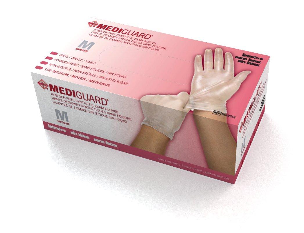 Medline MediGuard Powdered Free with Latex Free Vinyl Synthetic Exam Gloves (1500 per case , Medium) by Medline (Image #1)