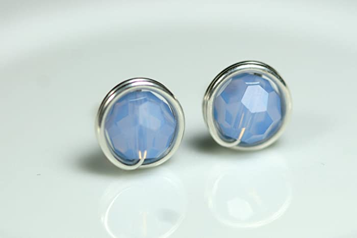 6285f57809fc Image Unavailable. Image not available for. Color  Blue Stud Earrings Air  Blue Opal Swarovski Crystal ...