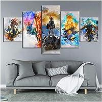 Junewind Pinturas De Arte Abstracto De 5 Piezas The Legend of Zelda Breath of The Wild Videojuegos Poster Canvas Art Paintings For Wall Decor