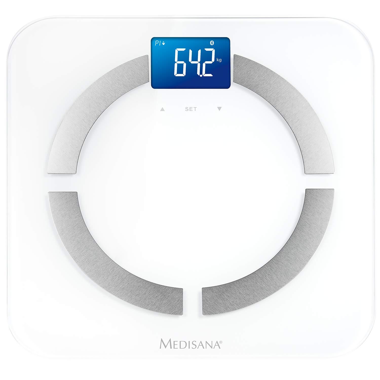 inox lcd Medisana 40422 BS 430 Bilancia con indice di massa grassa con applicazione bianco per lanalisi del corpo fino a 180 kg