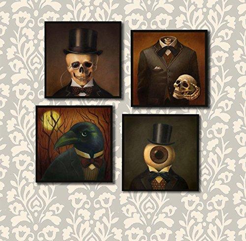 Gothic Coasters - Halloween Coaster Set - Victorian - Steampunk - Skull - Raven - Headless Horseman - Eyeball Man - Skull - (Victorian Halloween)