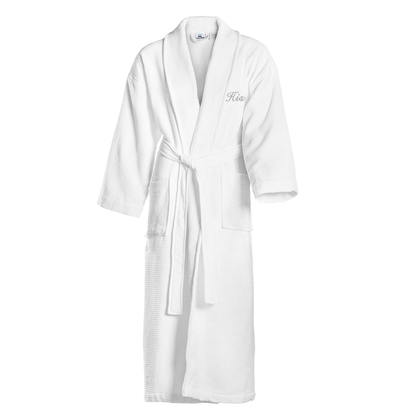 Kaufman - Terry Cloth Bathrobes 100% Cotton - His and Hers Embroidered Waffle Shawl Set of Robes with His and Hers White Towel Set 30''x58'' 4-PK by Ben Kaufman Sales (Image #2)