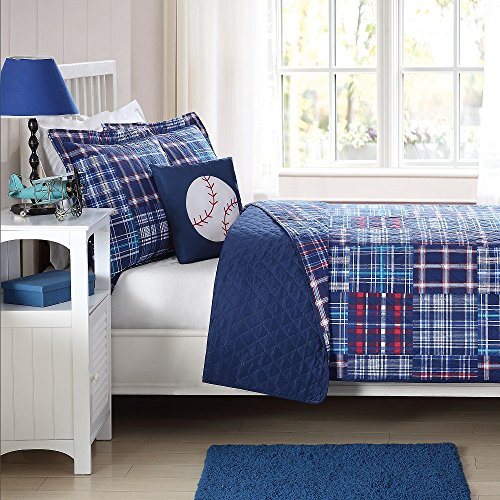 3 Piece Boys Blue Madras Plaid Quilt Twin Set, Stylish Navy Glen (Twin Baseball Bedding)