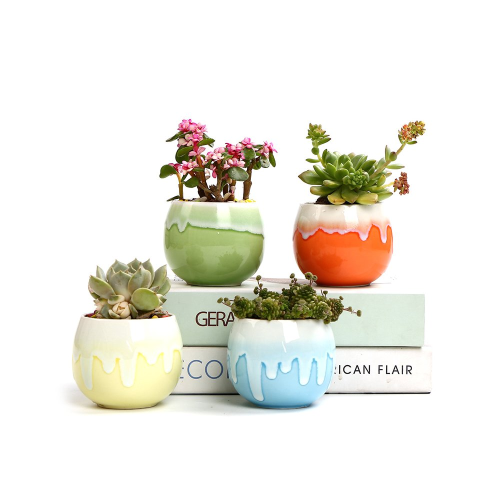 SUN-E 2.95 Inch Succulent Planter Pot Cactus Plant Pot Flowing Glaze Color Base Serial Set Concise Container Bonsai Planters Ceramic Flower Pot Window Box With Hole Idea(4 Color In Set) by SUN-E