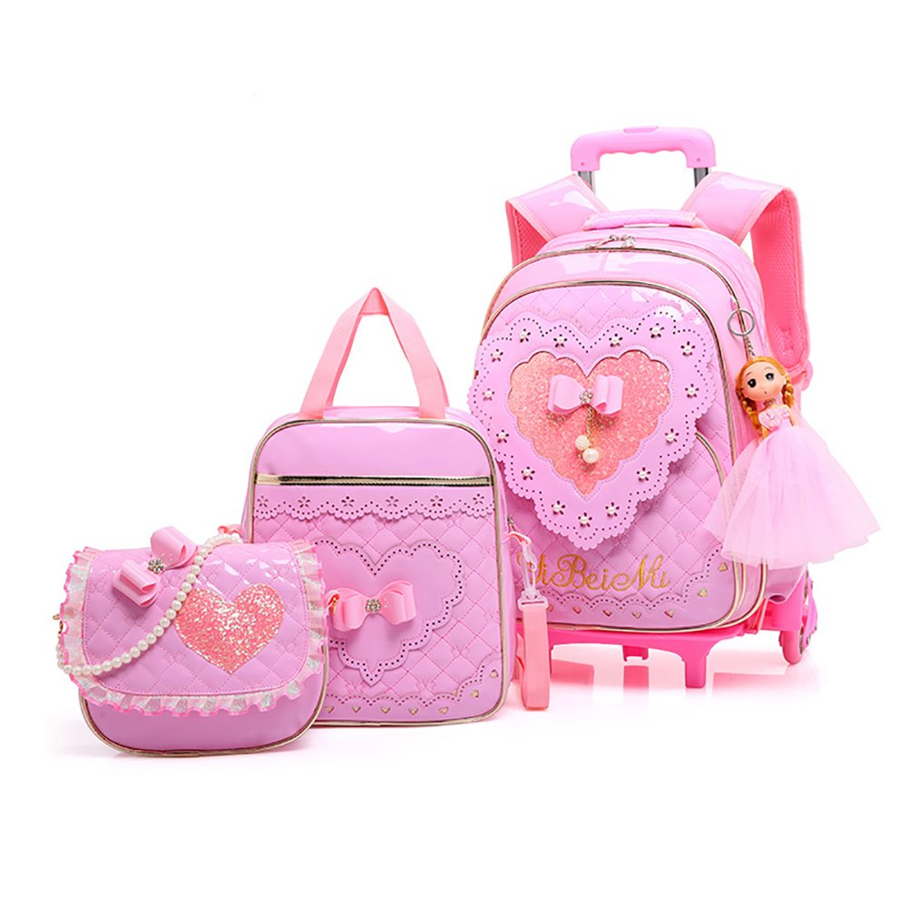Meetbelify Rolling Backpack for Girls with Pencil Case&Lunch Bag School Bags Trolley Wheeled Backpacks,Pink